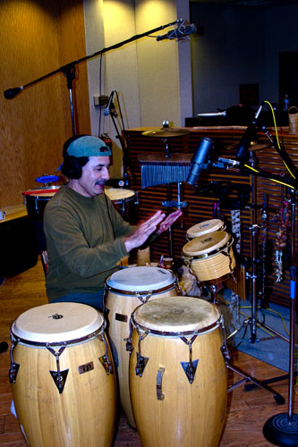 Roy laying down the groove at a recording session.